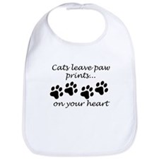 Cats Leave Paw Prints On Your Heart Bib