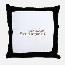 Eat,Sleep,Needlepoint Throw Pillow