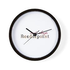 Eat,Sleep,Needlepoint Wall Clock