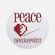 Peace Needlepoint Ornament (Round)