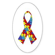 Autism Awareness Ribbon Oval Decal