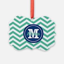 Green Navy Chevron Personalized Ornament