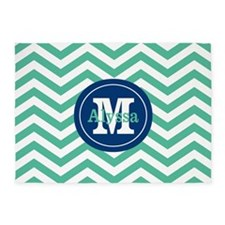 Green Navy Chevron Personalized 5'x7'Area Rug