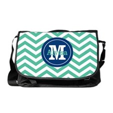 Green Navy Chevron Personalized Messenger Bag