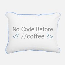 No Code Before Coffee Rectangular Canvas Pillow