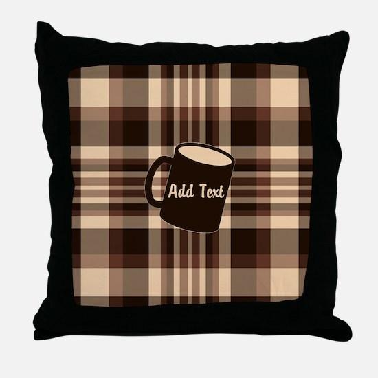 Coffee Lovers Plaid light Throw Pillow