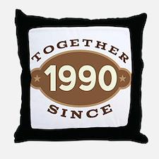 1990 Wedding Anniversary Throw Pillow