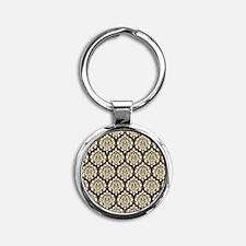 Brown Damask Round Keychain