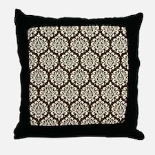 Brown Damask Throw Pillow