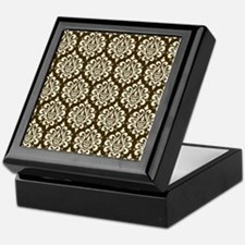 Brown Damask Keepsake Box