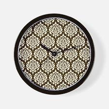 Brown Damask Wall Clock
