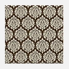 Brown Damask Tile Coaster