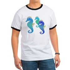 Blue Lavender Stained Glass Seahorse Trio T-Shirt