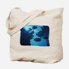 Underwater Blue World Fish Scuba Diver Tote Bag