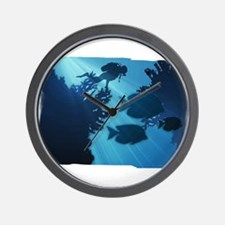 Underwater Blue World Fish Scuba Diver Wall Clock