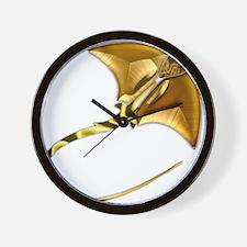 Gold Manta Sting Ray Wall Clock