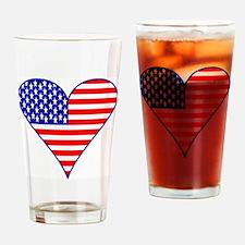 USA Flag Heart Funky Drinking Glass