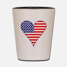 USA Flag Heart Funky Shot Glass