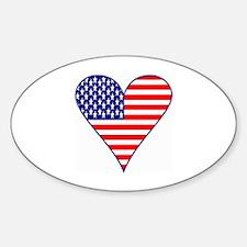 USA Flag Heart Funky Decal