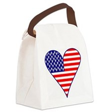 USA Flag Heart Funky Canvas Lunch Bag