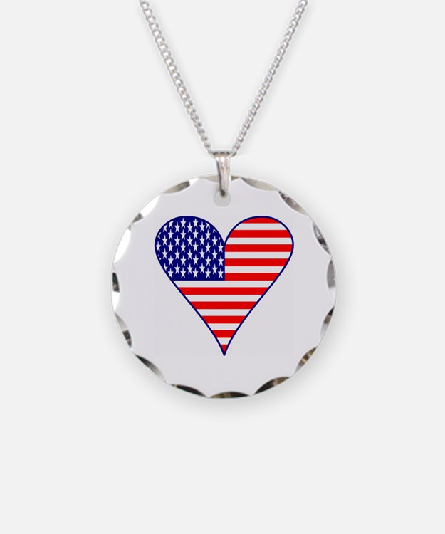 USA Flag Heart Funky Necklace