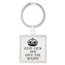 Keep Calm and Save The Oceans Square Keychain