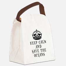 Keep Calm and Save The Oceans Canvas Lunch Bag