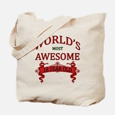 World's Most Awesome 18 Year Old Tote Bag