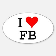 I Love FB Oval Decal