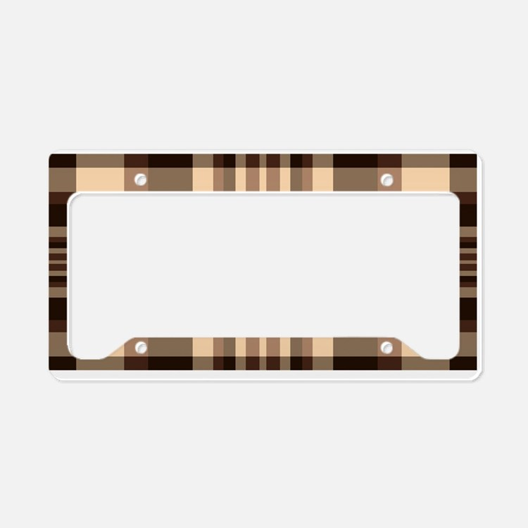 Coffee Lovers Plaid License Plate Holder