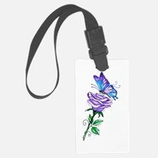 Purple Rose with Butterfly Luggage Tag