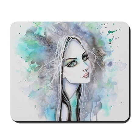 Green eyed Ghost Abstract Portrait Fantasy Art Mou