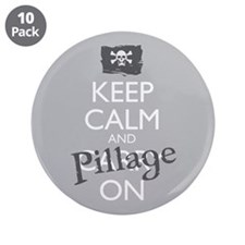 "Keep Calm And Pillage On 3.5"" Button (10 Pack"
