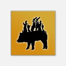 """Flaming Pig Silhouette Square Sticker 3"""" x 3"""""""