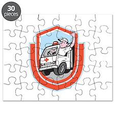 Ambulance Emergency Vehicle Driver Waving Shield C