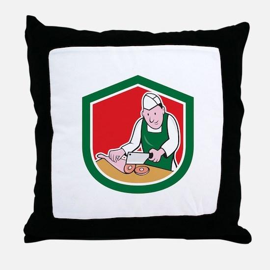 Butcher Chopping Meat Shield Cartoon Throw Pillow