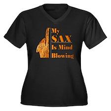 My SAX Is Mi Women's Plus Size V-Neck Dark T-Shirt