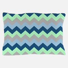 Modern Blues Chevron Stripes Pillow Case