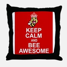 Keep calm and bee awesome Throw Pillow
