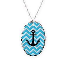 Aqua Blue Chevron Anchor Necklace