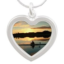 Rowing At Sunrise - Raising  Silver Heart Necklace