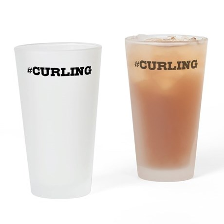 Curling Hashtag Drinking Glass