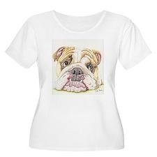 English Bulldog Drawing Plus Size T-Shirt