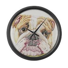 English Bulldog Drawing Large Wall Clock