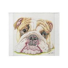 English Bulldog Drawing Throw Blanket