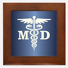 Caduceus MD (blue) Framed Tile