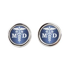 Caduceus MD (blue) Round Cufflinks