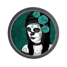 Day of the Dead Girl with Teal Blue Roses Wall Clo