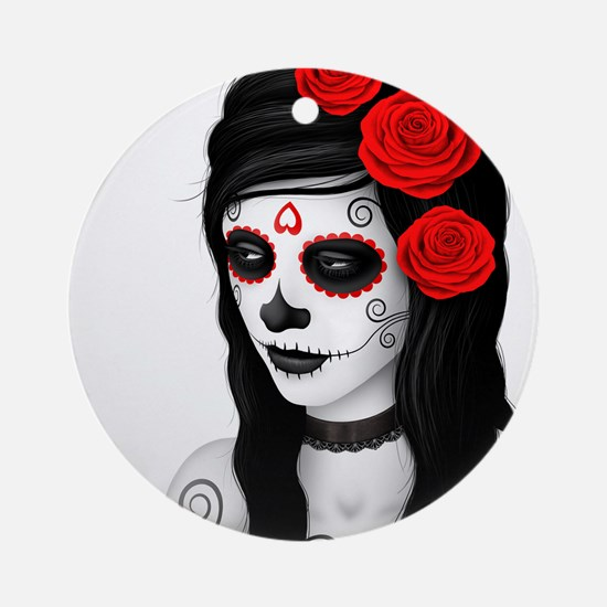 Day of the Dead Girl with Red Roses on White Ornam