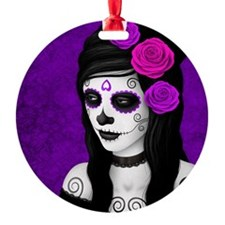 Day of the Dead Girl with Purple Roses Ornament